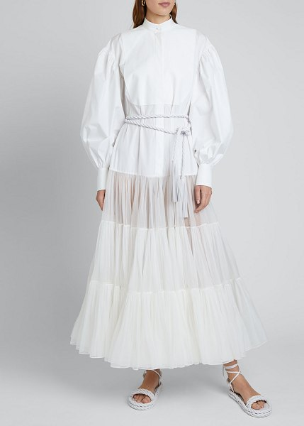 Valentino Long Puff-Sleeve Techno Cotton & Tulle Dress in white