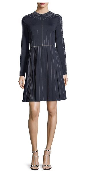 Valentino Long-Sleeve Techno Jersey Dress in blue/white - Valentino techno jersey dress with contrast stitching....