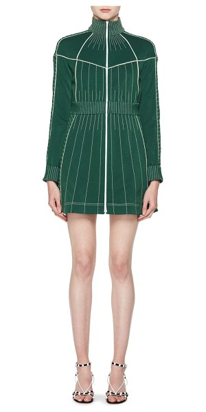 VALENTINO Long-Sleeve Zip-Front Fitted Short Dress with Contrast Topstitching - Valentino fitted dress with topstitching. Stand collar....
