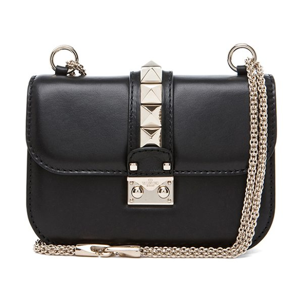 "VALENTINO Mini Lock Flap Bag - ""Genuine leather with twill lining and pale gold-tone..."