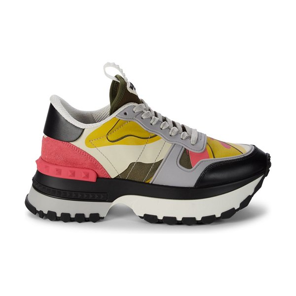 Valentino Multicolored Leather & Suede Sneakers in army
