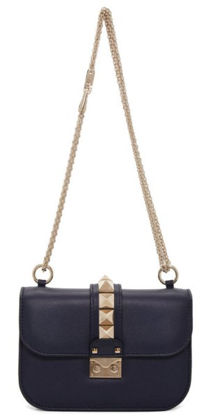 Valentino navy  garavani small lock bag in m30 navy