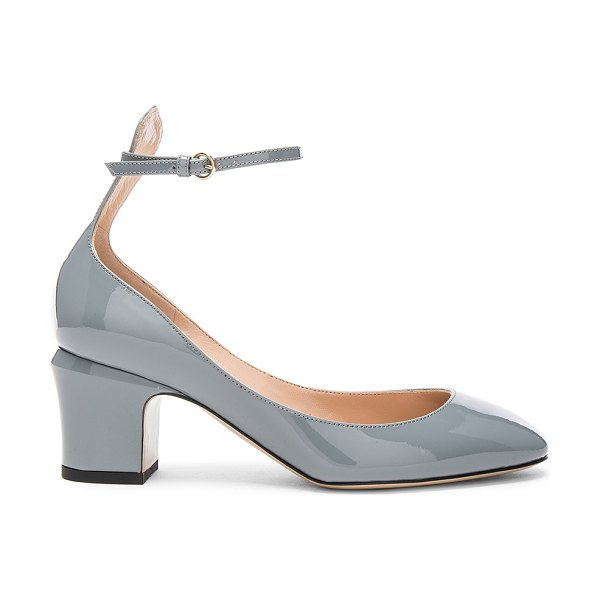 VALENTINO Patent Leather Tan-Go Pumps in gray - Patent leather with leather sole.  Made in Italy. ...