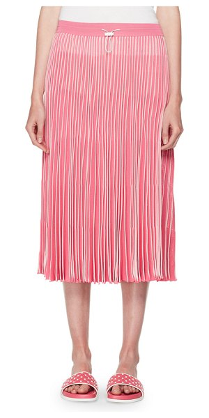 VALENTINO Pleated A-Line Pull-On Midi Skirt - Valentino pleated skirt. Drawcord waist. A-line...