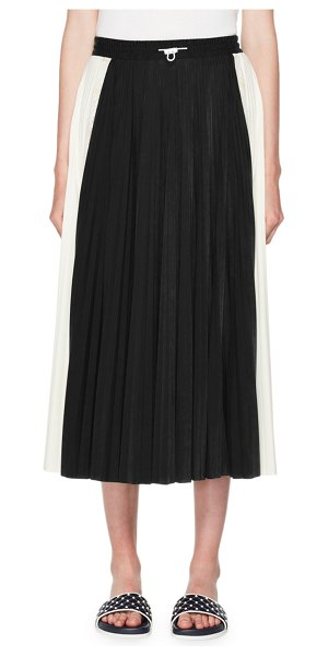Valentino Pleated Jersey Midi Skirt in black/white - Valentino pleated jersey midi skirt. Drawstring waist....