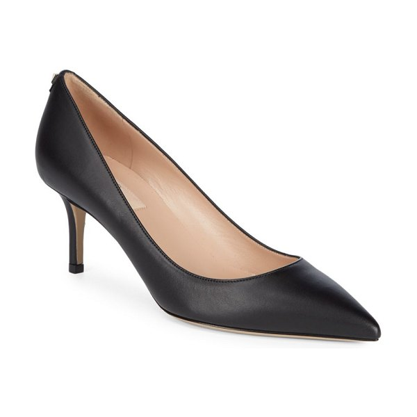 Valentino Point Toe Leather Pumps in nero