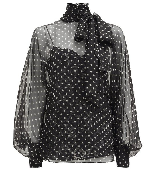 Valentino polka-dot pussy-bow georgette blouse in black white