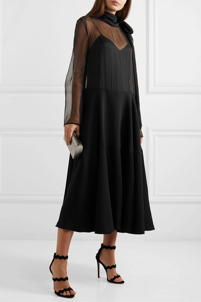 Valentino pussy-bow silk-organza and satin gown in black