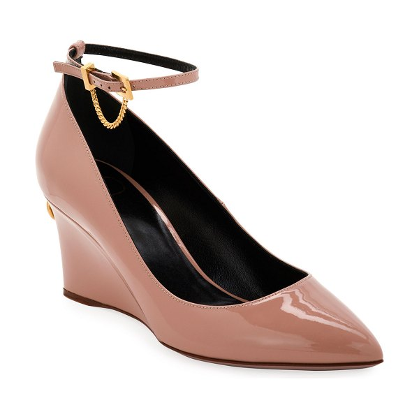 Valentino Ring Stud Mary Jane Wedge Pumps in beige