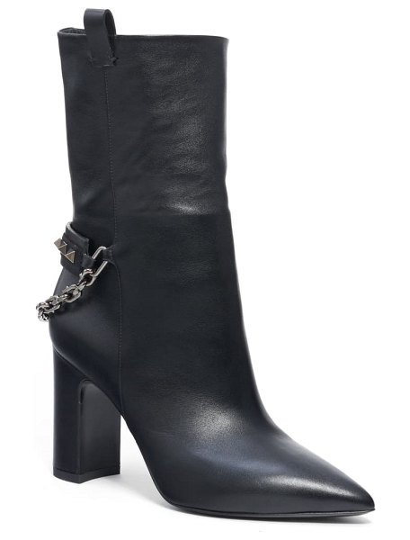 Valentino rockstud chain pointy toe boot in black