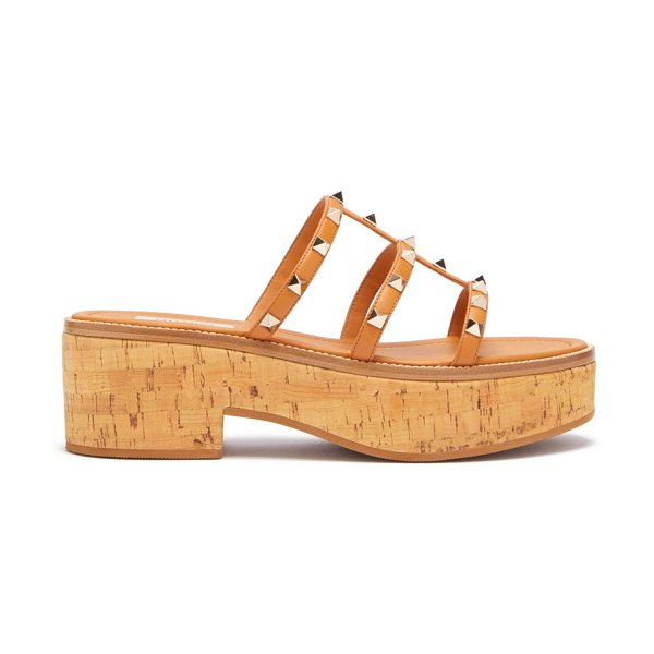 Valentino rockstud cork platform sandals in tan