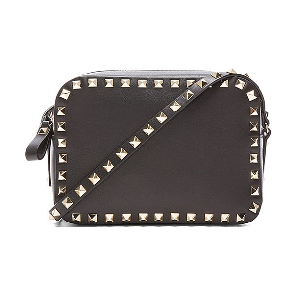 "VALENTINO Rockstud Crossbody Bag - ""Leather with canvas lining and gold-tone hardware.  Made..."