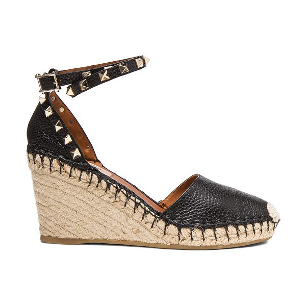 VALENTINO Rockstud Double Espadrille Leather Wedges in black - Grained leather upper with rubber sole.  Made in Italy. ...