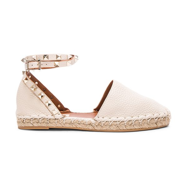 VALENTINO Rockstud Double Flat Leather Espadrilles - Grained leather upper with rubber sole.  Made in Italy. ...