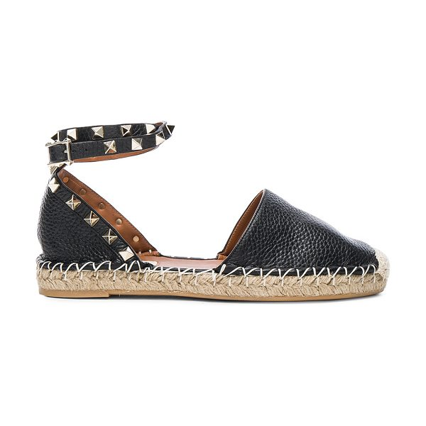 Valentino Rockstud Double Flat Leather Espadrilles in black - Grained leather upper with rubber sole.  Made in Italy. ...