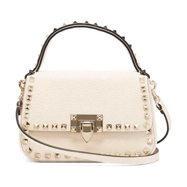 Valentino rockstud grained-leather cross-body bag in white