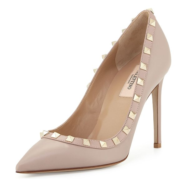 Valentino Rockstud Leather 100mm Pump in poudre