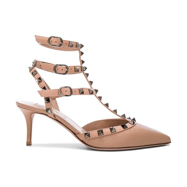 VALENTINO Rockstud Leather Ankle Strap Heels - Leather upper and sole.  Made in Italy.  Approx 65mm/ 2.5...
