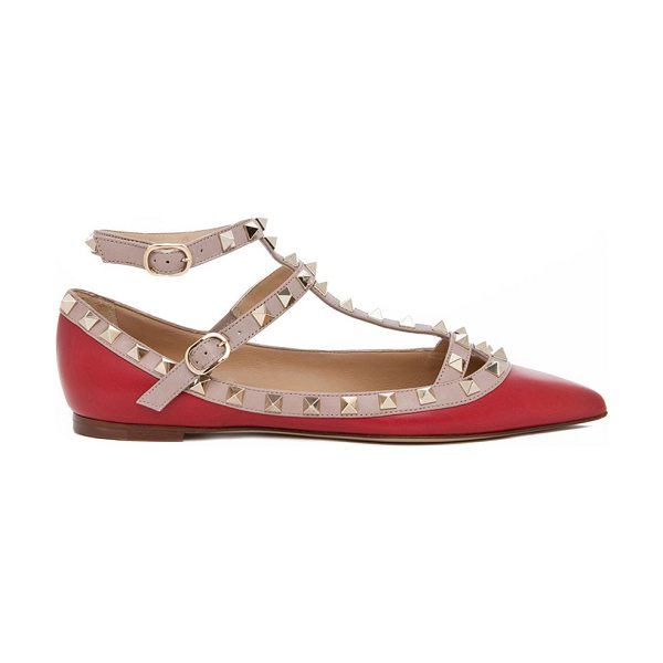 Valentino Rockstud Leather Cage Flats in red - Leather upper and sole.  Made in Italy.  Double strap...