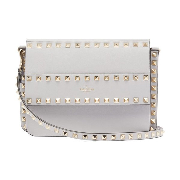 Valentino rockstud leather cross body bag in light grey