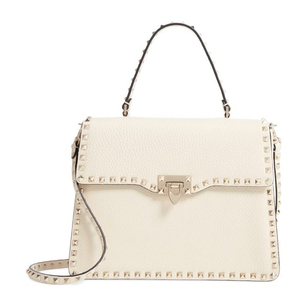 VALENTINO rockstud leather satchel - Polished rockstuds outline the boxy, structured...
