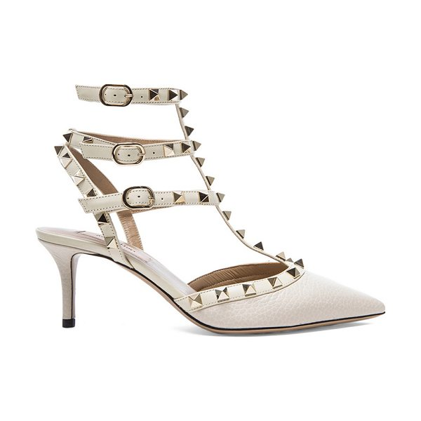 VALENTINO Rockstud Leather Slingbacks T.65 - Grained leather upper with leather sole.  Made in Italy. ...