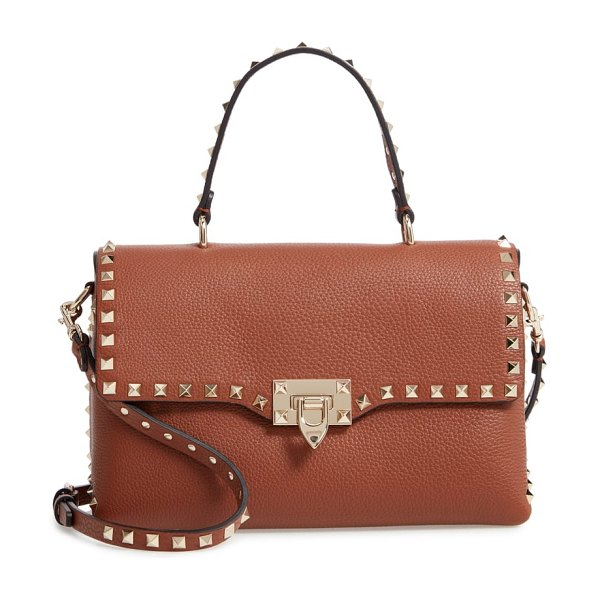 Valentino rockstud leather top handle bag in bright cognac