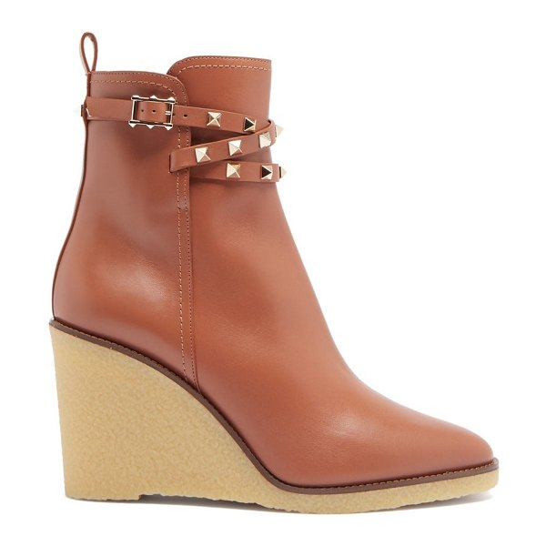 Valentino rockstud leather wedge ankle boots in tan