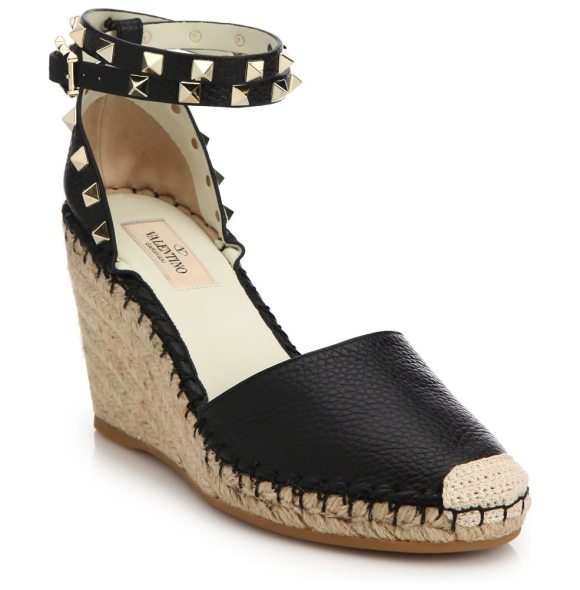 Valentino rockstud leather wedge espadrilles in black - Pebble leather espadrille with studded ankle strap....