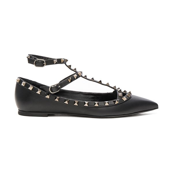 VALENTINO Rockstud Noir Leather Cage Flats - Leather upper and sole.  Made in Italy.  Rubber tap heel. ...