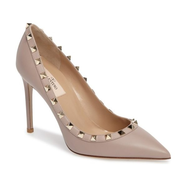 Valentino rockstud pointed toe pump in nude leather