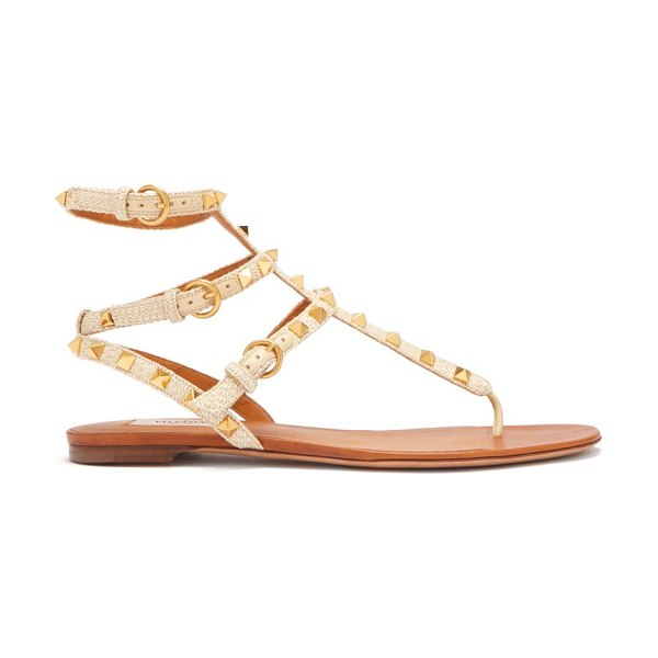 Valentino rockstud raffia and leather gladiator sandals in beige