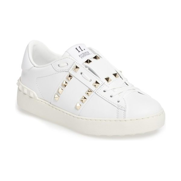 Valentino rockstud sneaker in white leather