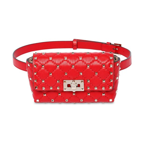 Valentino Rockstud spike leather belt bag in rouge pure