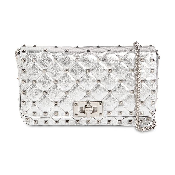 Valentino Rockstud spike metal leather clutch in silver