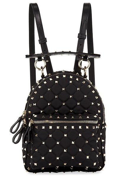 Valentino Rockstud Spike Mini Nylon Backpack in Black   Shopstasy 9320137bd1