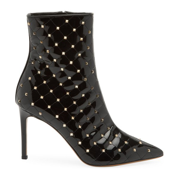 Valentino rockstud spike patent leather ankle boots in black