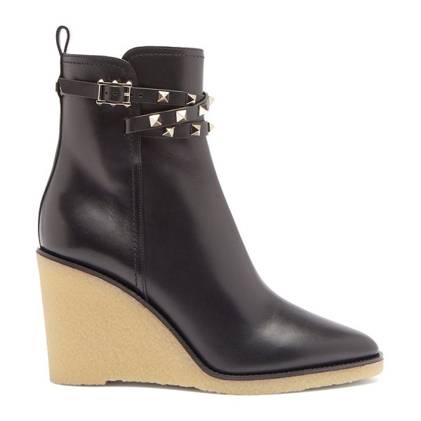 Valentino rockstud wedge-heel leather ankle boots in black