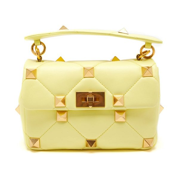 Valentino roman stud medium quilted-leather shoulder bag in yellow