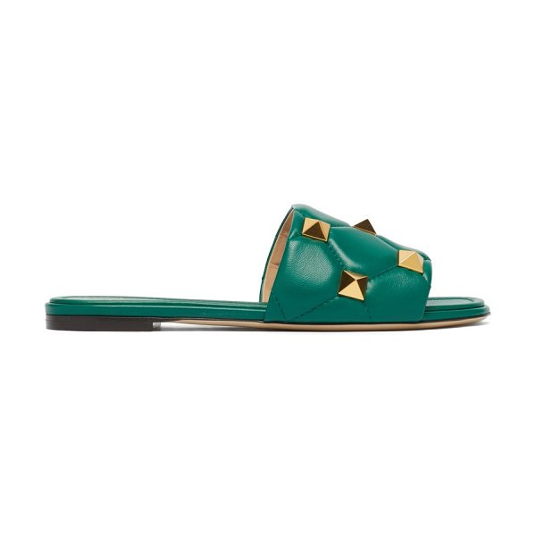 Valentino roman-stud quilted-leather slides in green