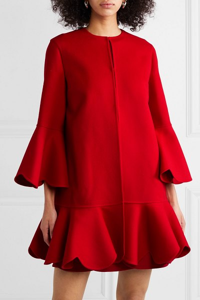 Valentino ruffled wool and cashmere-blend coat in red