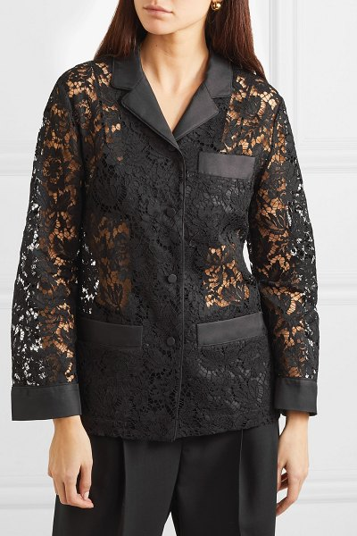 Valentino satin-trimmed corded lace shirt in black - Valentino's Spring '19 show opened with 11 all-black...