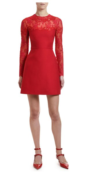 Valentino Scalloped Lace Inset Cocktail Dress in red