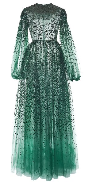 Valentino sequin-embroidered tulle gown in green