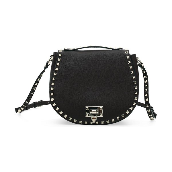 Valentino small rockstud leather saddle bag in black,red