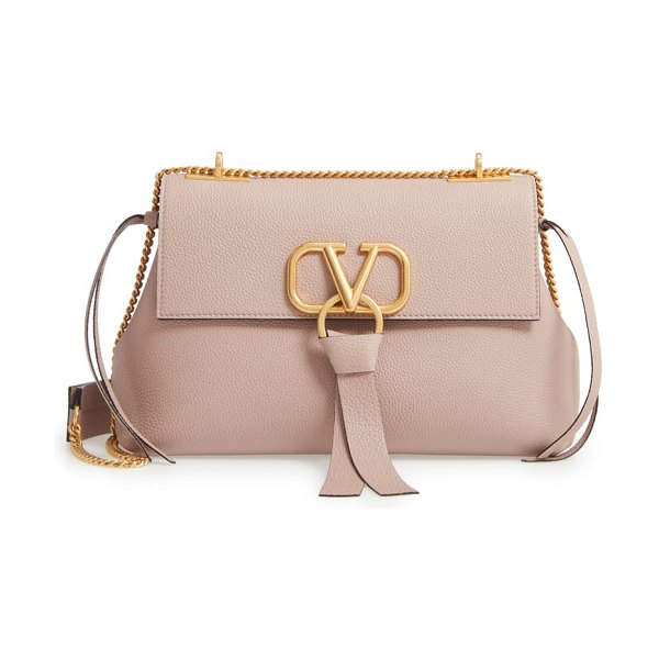Valentino small v-ring leather shoulder bag in poudre