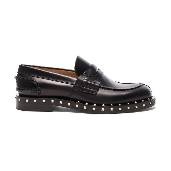 Valentino Soul Stud Leather Loafers in black - Leather upper and sole.  Made in Italy.  Approx 25mm/ 1...