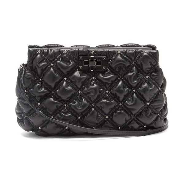 Valentino spikeme medium quilted-leather cross-body bag in black