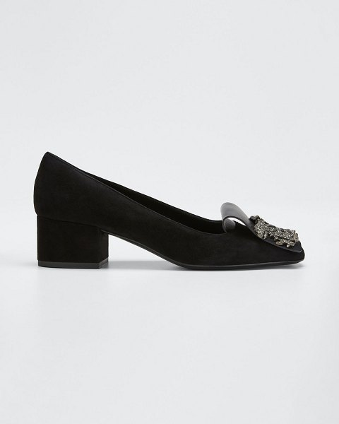 Valentino Suede Maison Crystal Pumps in black