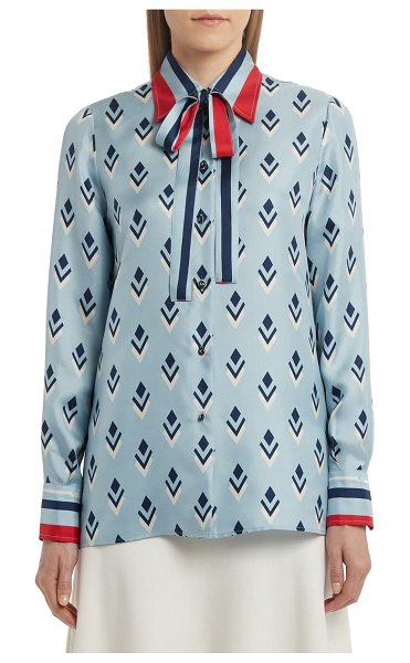 Valentino tie neck silk blouse in steel blue multicolor
